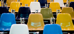 empty chairs in a lecture hall